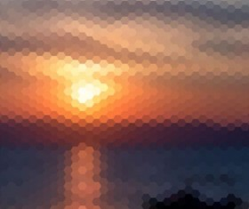 Sunset with geometric shapes blurred background vector 01
