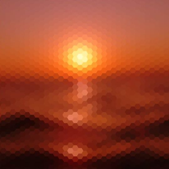 Sunset With Geometric Shapes Blurred Background Vector 05