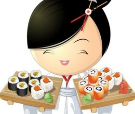 Sushi with beautiful girl vector 02