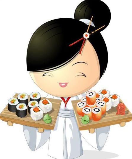 Japanese Car Badge >> Sushi with beautiful girl vector 02 free download