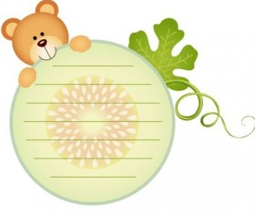 Teddy bear with cantaloupe melon labels vector