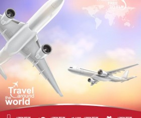 Travel around world with poster design vector 01