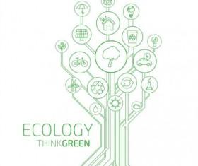 Tree shape Eco infographic vector 06