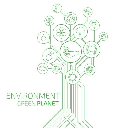Tree shape Eco infographic vector 08