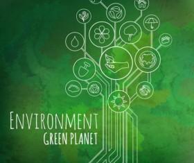 Tree shape Eco infographic vector 12
