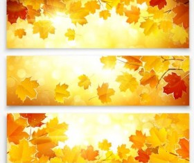 Vector banners with autumn leaves vector set 01