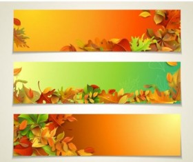 Vector banners with autumn leaves vector set 02