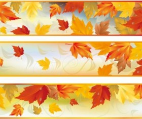 Vector banners with autumn leaves vector set 03
