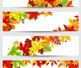 Vector banners with autumn leaves vector set 04
