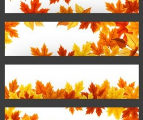 Vector banners with autumn leaves vector set 05