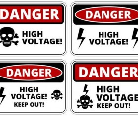 Warning danger signs creative vector 01