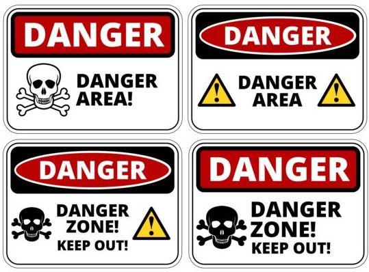 Warning danger signs creative vector 05