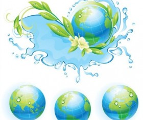 Water ecological background with the globe vector