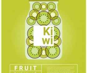 Water fruit recipe with kiwi vector background