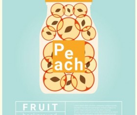 Water fruit recipe with peach vector background