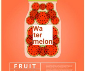Water fruit recipe with watermelon vector background