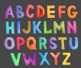 Watercolor colorful alphabet vector