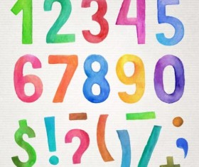 Watercolor colorful numbers vector 01