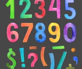 Watercolor colorful numbers vector 02