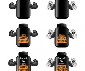 Whey proteins bottle vector template 01