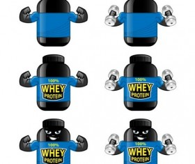 Whey proteins bottle vector template 03