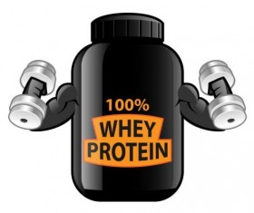 Whey proteins bottle vector template 04