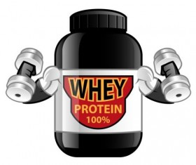 Whey proteins bottle vector template 05