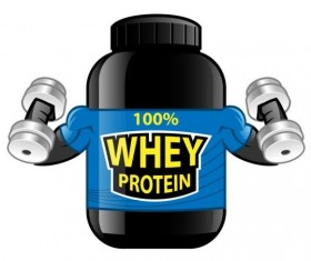 Whey proteins bottle vector template 06