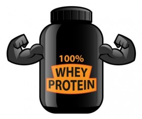 Whey proteins bottle vector template 07