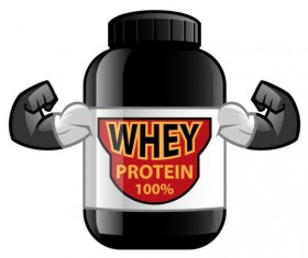 Whey proteins bottle vector template 08