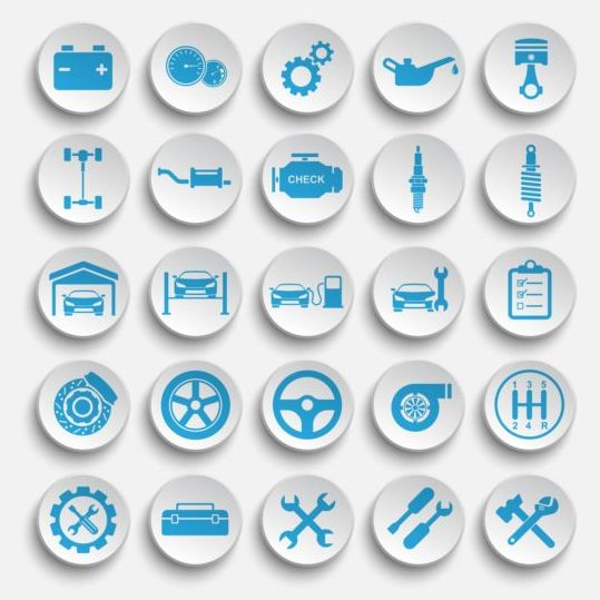 White car icons vector set
