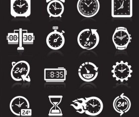 White clock icons vector