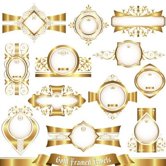 White with gold framed labels set vector 02