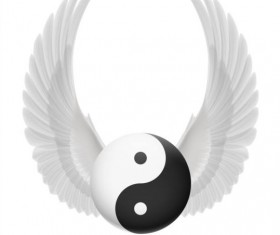 Wings with Yin Yang ball vector 01