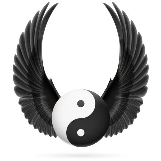 Wings with Yin Yang ball vector 02