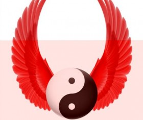 Wings with Yin Yang ball vector 03