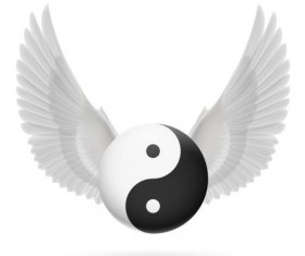 Wings with Yin Yang ball vector 04