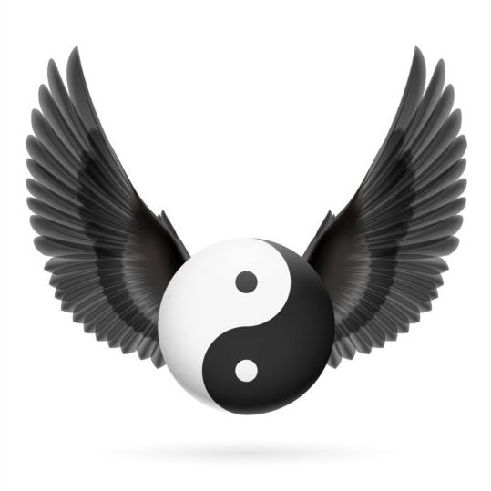 Wings with Yin Yang ball vector 05