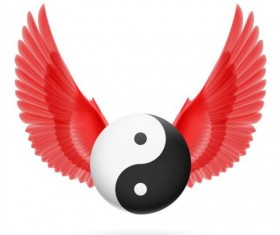 Wings with Yin Yang ball vector 06
