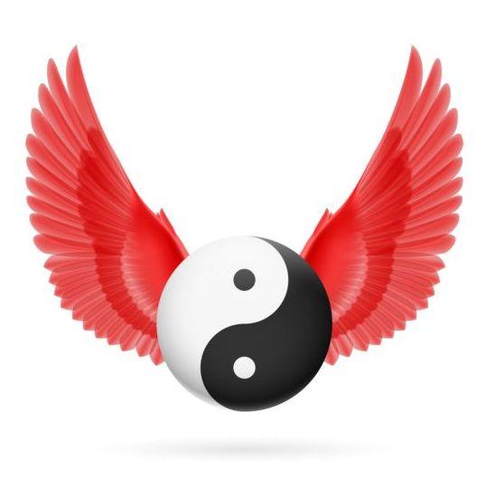 Wings with Yin Yang ball vector 06