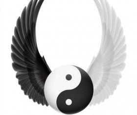 Wings with Yin Yang ball vector 07