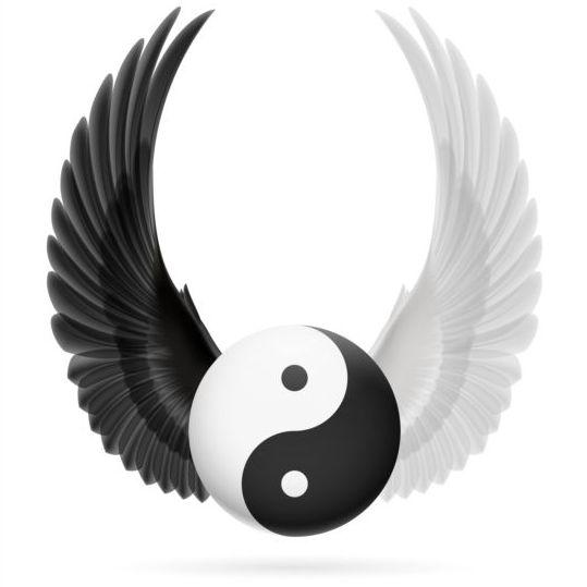 Wings with Yin Yang ball vector 07