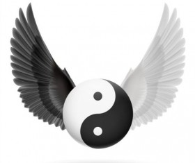 Wings with Yin Yang ball vector 08