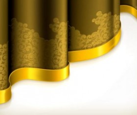Yellow curtain with golden decorative tape vector