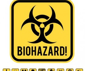 Yellow danger wiht hazards icons set 01