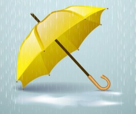Yellow umbrella and rain vector