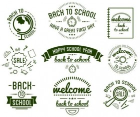 green back to school labels vector