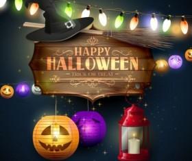 halloween labels with lantern night garland vector