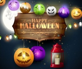 halloween labels with lantern night vector