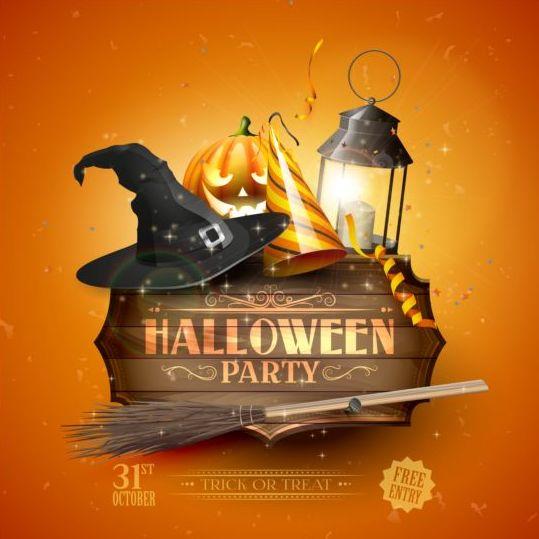 halloween party hat sign orange vector free download rh freedesignfile com Halloween Moon Vector Halloween Moon Vector